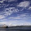 Queen Elizabeth sailing away