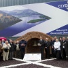 Members of Dry Stone Walling Association and Rotary Club with Clydeport Staff