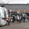 Coaches waiting at quayside to begin one of many tours from Greenock Ocean Terminal