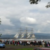 Tall Ship going by crowds