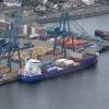 Container ship berthed at Greenock Ocean Terminal